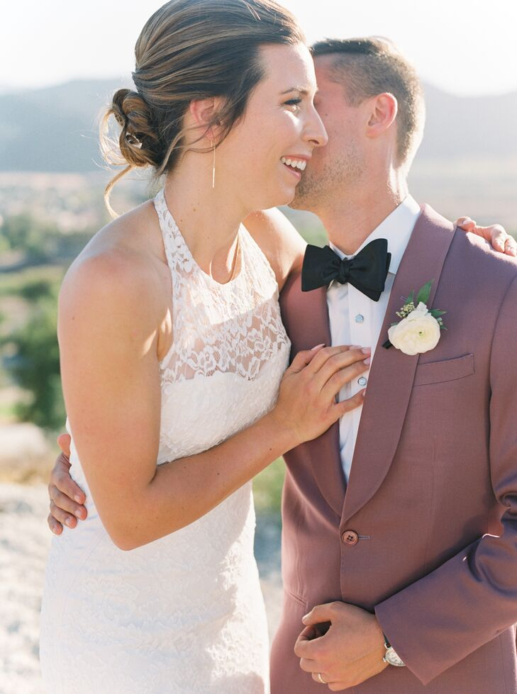 Lace Wedding Dress and Dusty Rose Suit