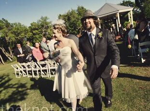 The couple met at work. They got to know each other at a poolside potluck.  The Bride Ashley Veselka, 37 and a designer and crafter The Groom John For