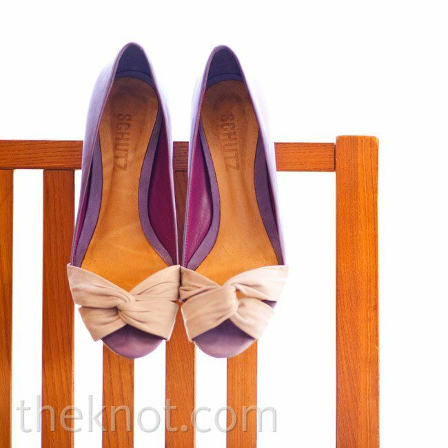 These gray and purple peep-toe heels matched the wedding colors perfectly.