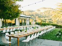 Intimate backyard reception outside