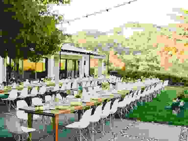 Intimate backyard reception outside