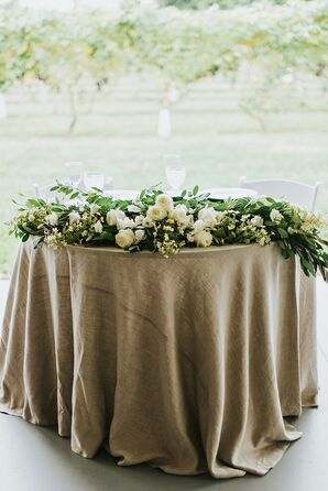 Burlap Table Linen with Green Garland