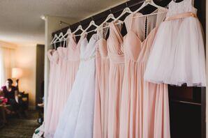 Blush Chiffon Bridesmaid Gowns
