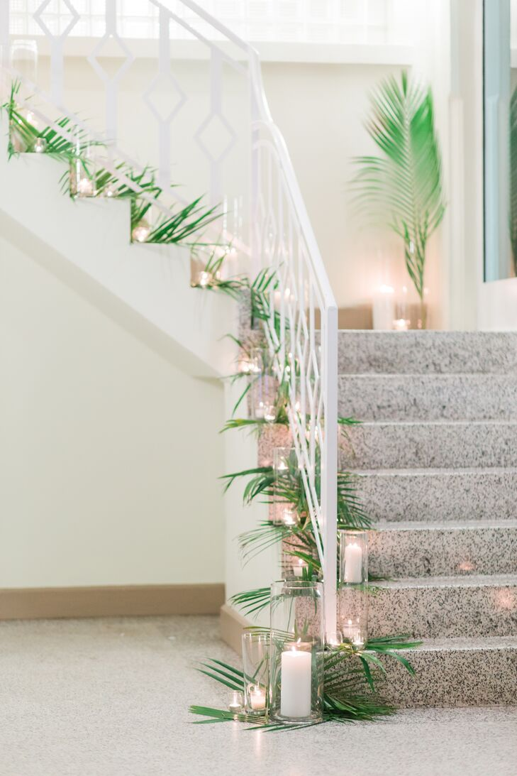 Palm- and Candle-Lined Stairway