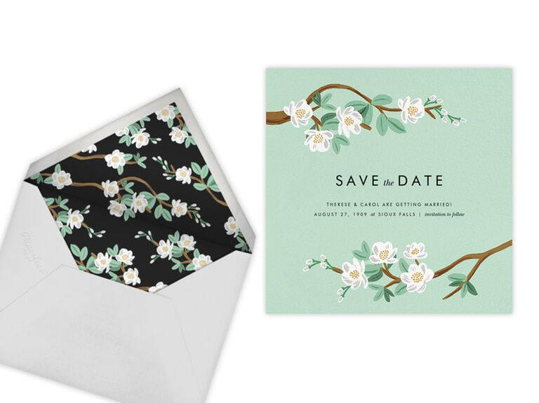 Rifle Paper Co. tea tree save-the-date