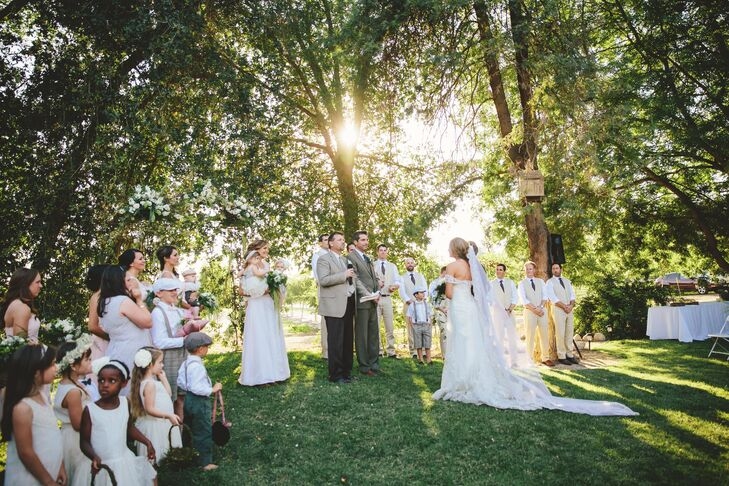 Couple at Wedding Ceremony, Wedding Party