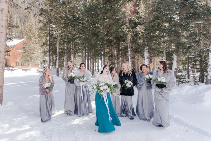 Silver Bridesmaid Dresses and Faux-Fur Wraps