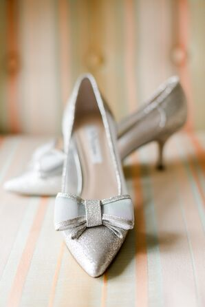 Sparkly Silver Heels with Bows