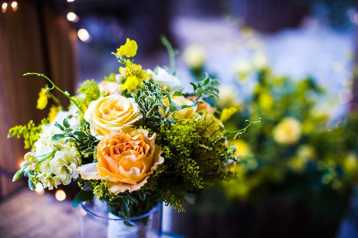 Yellow and Peach Bridesmaid Bouquets