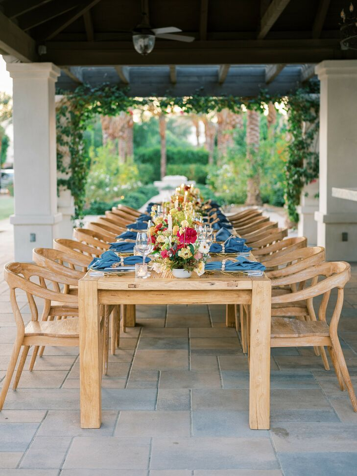 Wood Chairs and Wood Table for Wedding in Coachella, California
