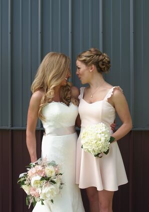 Knee-Length Short Blush Bridesmaid Dress