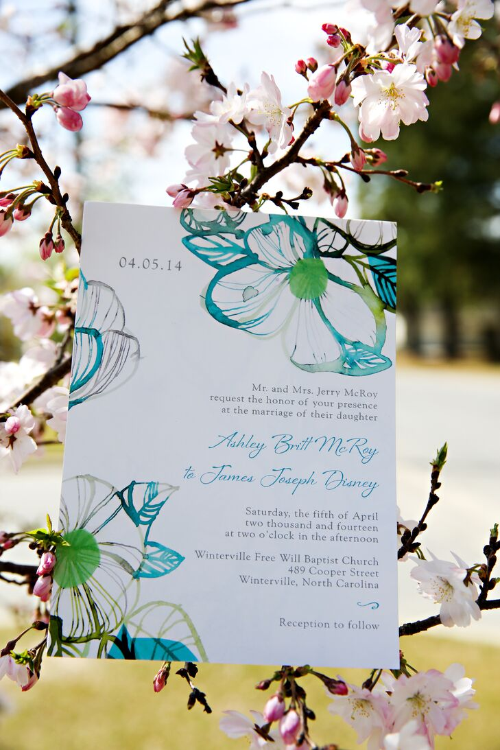 Blue and Green Floral Invitations