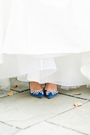 Blue Crystal-Embellished Heels