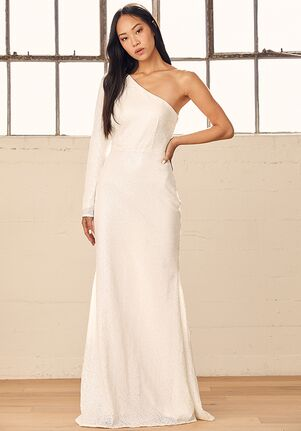 Lulus Promise My Forever White Sequin One-Shoulder Mermaid Maxi Dress Mermaid Wedding Dress