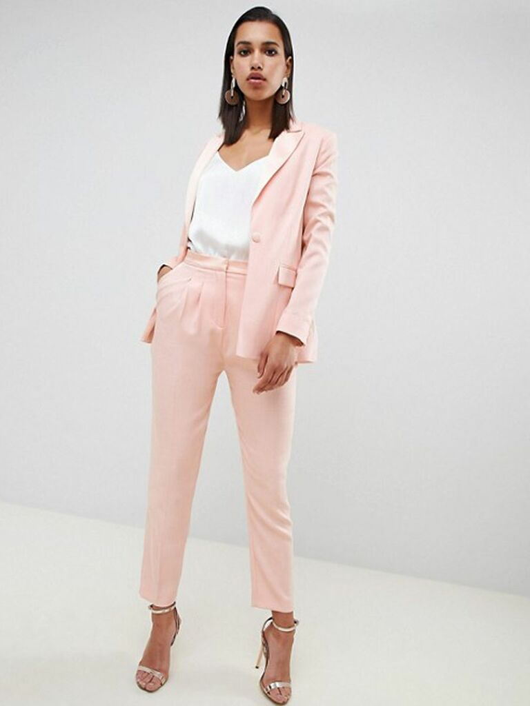 ASOS tailored contrast satin tapered pants two-piece - bridal pant suits