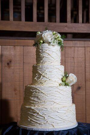 Textured Buttercream Cake with Fresh Flower Topper