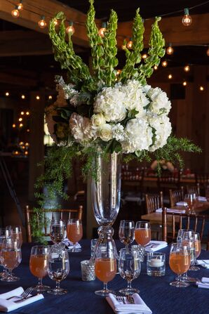 Tall Silver Mercury Glass and Hydrangea Centerpieces