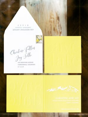 Modern Yellow Invitation Suite with Mountain Illustration