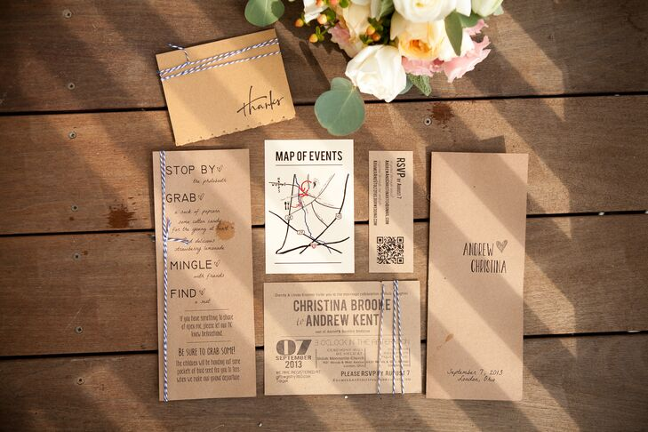 The wedding invitations were printed on brown cardboard paper and were decorated with string to go along with the rustic theme.