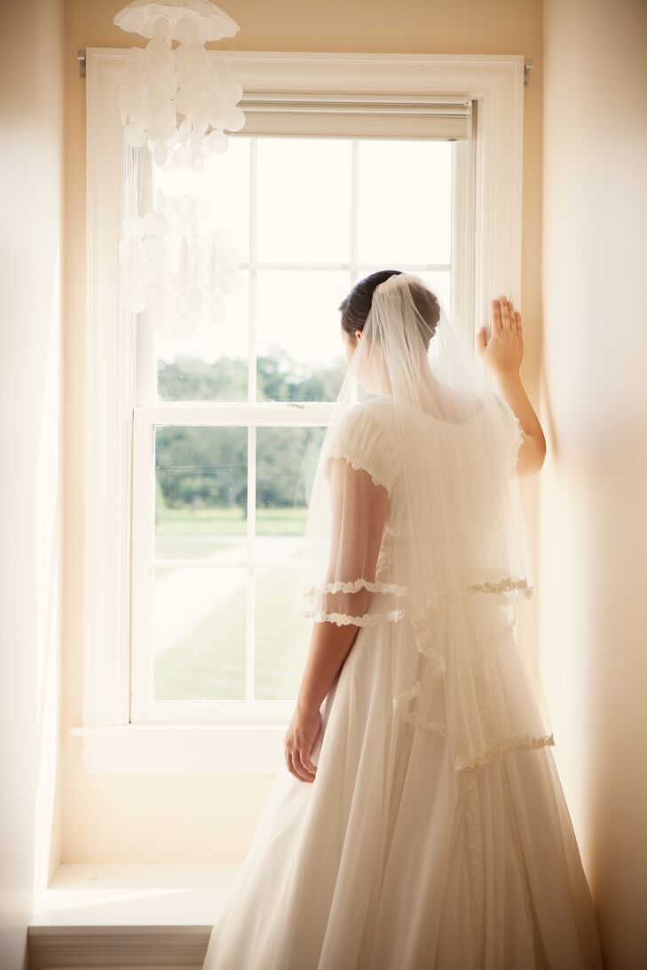 Simple Tulle Veil and Wedding Dress
