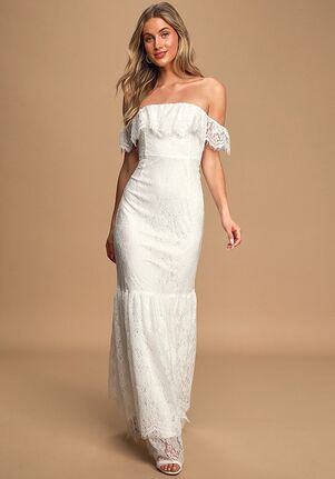 Lulus Love is Forever White Lace Off-The-Shoulder Ruffled Maxi Dress Sheath Wedding Dress