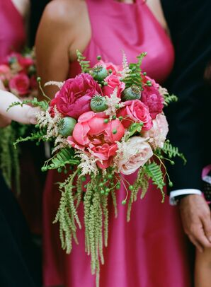 Hot Pink Bridal Bouquets and Bridesmaid Dresses