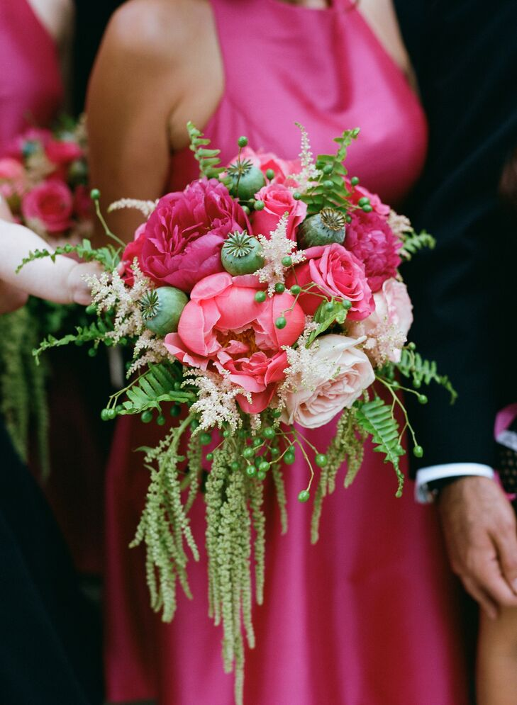 Fuchsia bouquets complemented the hot pink Monique Lhuillier bridesmaid dresses, found at Neiman Marcus.