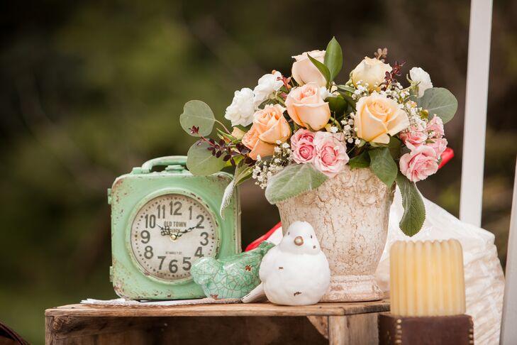 Vintage Decor and Rose Flower Arrangement
