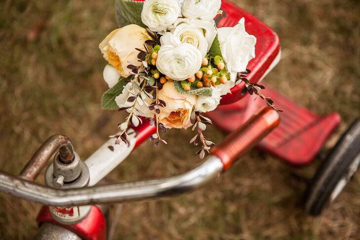 """""""All the flowers were done by my aunts, cousins and the groom's mother,"""" says Christina.  They worked together to make my bouquet, which was extra special. Beautiful garden roses graced the bride and bridesmaid's bouquets."""""""