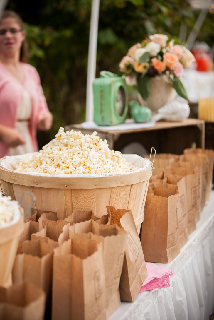 """""""One booth had popcorn in brown paper bags that were hand stamped with """"Best Day Ever"""" on the bags,"""" says Christina."""
