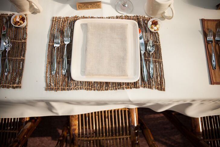 Rustic Place Setting on Ivory Tablecloth