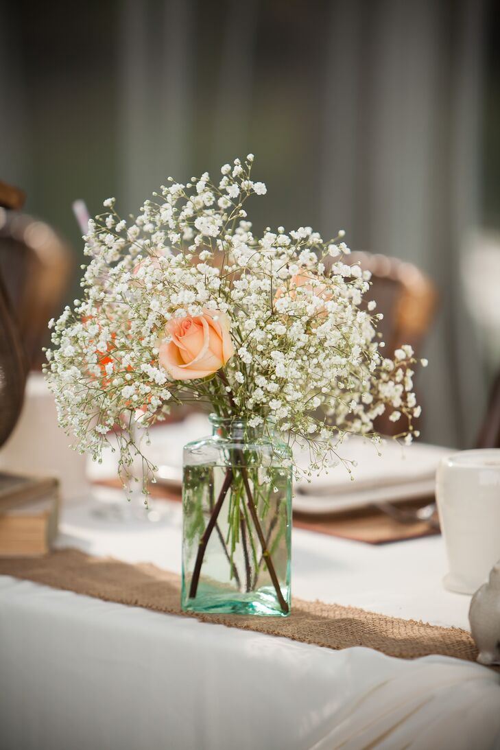 Peach Rose and Babys Breath Centerpiece