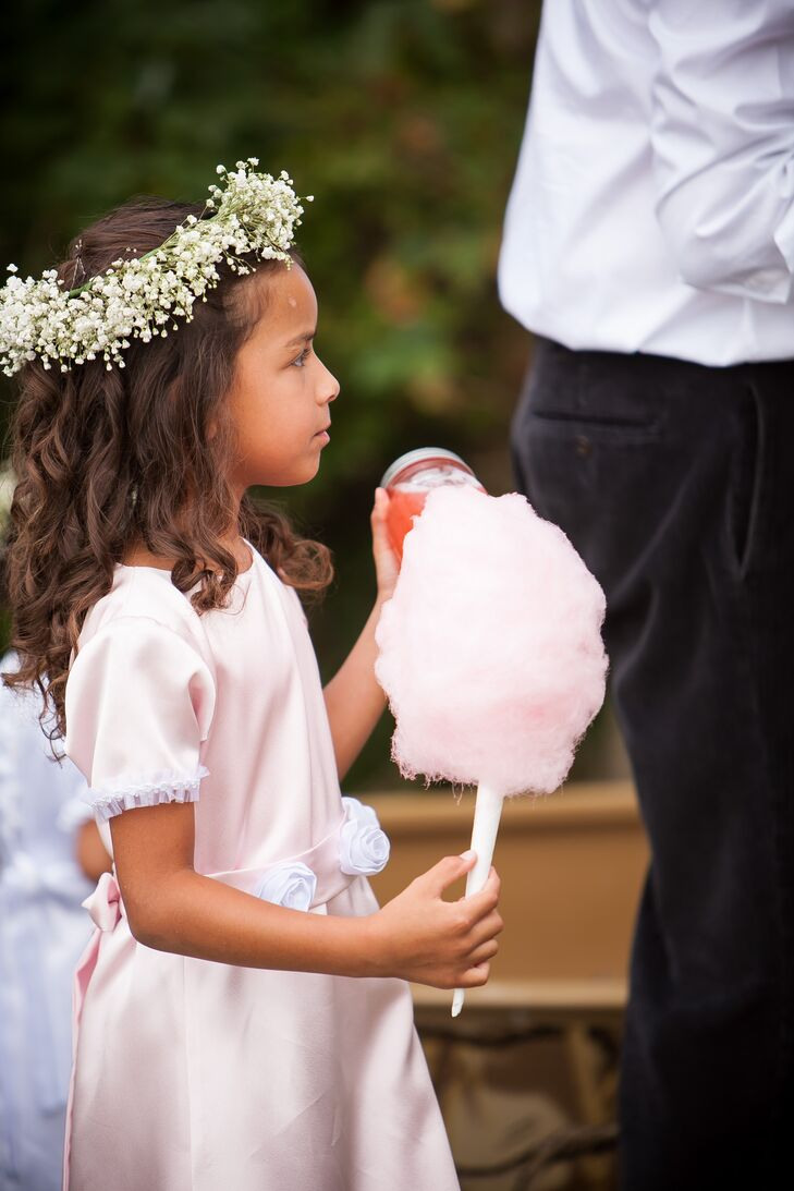 Pink Flower Girl with Cotton Candy