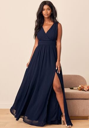 Lulus Thoughts of Hue Navy Blue Surplice Maxi Dress V-Neck Bridesmaid Dress
