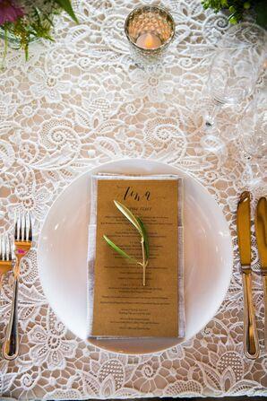 Olive Leaf-Trimmed Kraft Paper Menus