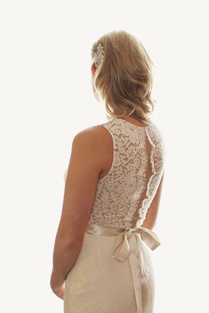 Tara Keely White Backless Wedding Gown