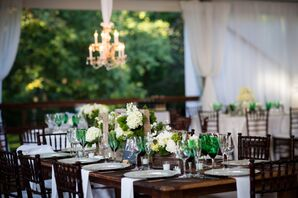 Ivory Hydrangea and Green Trick Dianthus Centerpieces