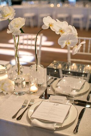Custom Reception Menu on White and Mirrored Tablescape