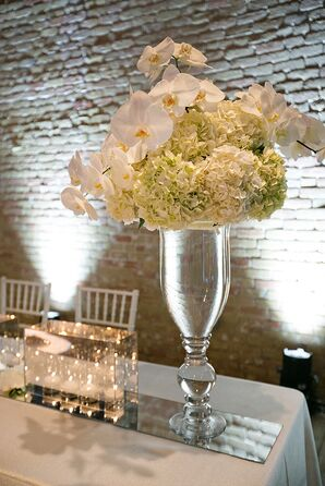 White Orchid and Hydrangea Table Flowers