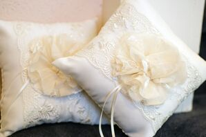 Rustic Lace and Flower Ring Bearer Pillows