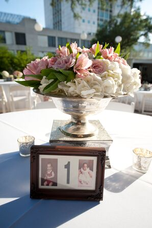 Timeless, Bride and Groom Growing Up Photographs as Table Numbers