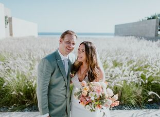 "Cara	White and Nick O'Bryen had a modern, romantic destination wedding at Flora Farms in San Jose del Cabo, Mexico. ""Because the setting of the farm i"