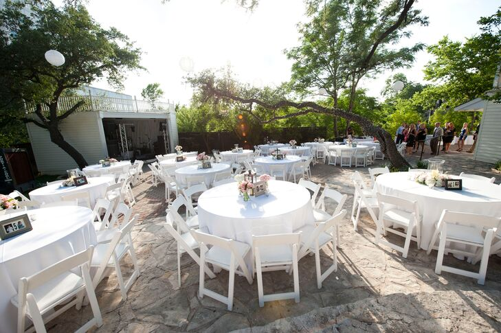 """We first settled on The Allan House because I thought the location was great and it had that rustic, romantic style that we were looking for,"" says Kate. The outdoor courtyard offered sunshine, shade and space for the Austin, Texas reception."
