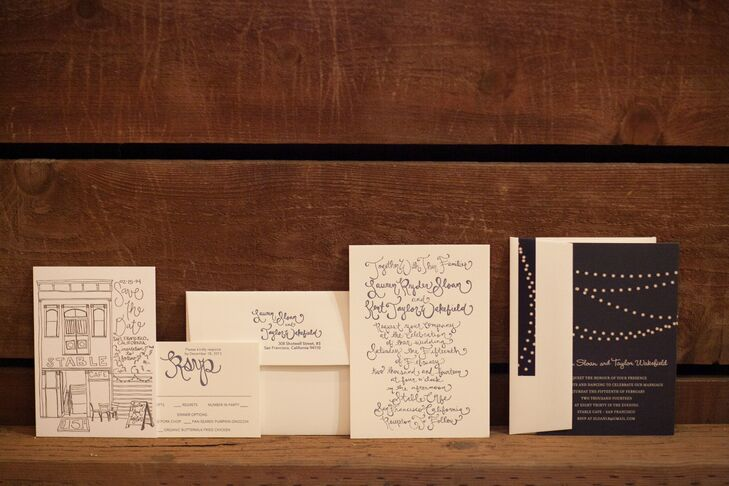"""""""I was an art major in college and I've always loved to sketch and use fun lettering, so it came naturally to me to design our invitations and save-the-dates,"""" says Lauren."""