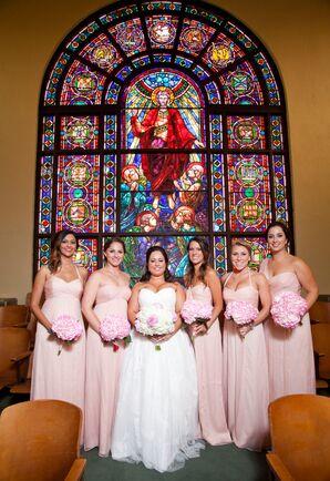 Long Blush Chiffon Amsale Bridesmaid Dresses