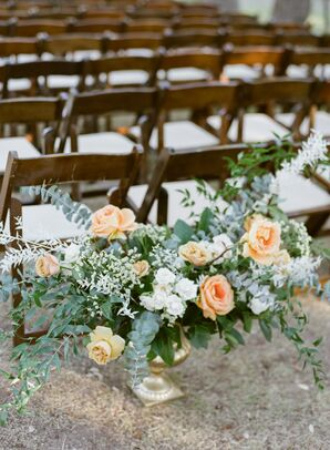 Ceremony Aisle Floral Arrangements at The Ivory Oak in Wimberley, Texas