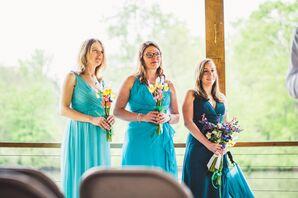 Blue Bridesmaid Dresses, Wildflower Bouquets