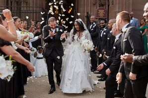 Couple Exits Church Amid Rose Petal Toss