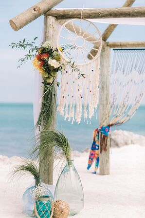 Beach Grass and Dream Catcher Wedding Arch Decorations