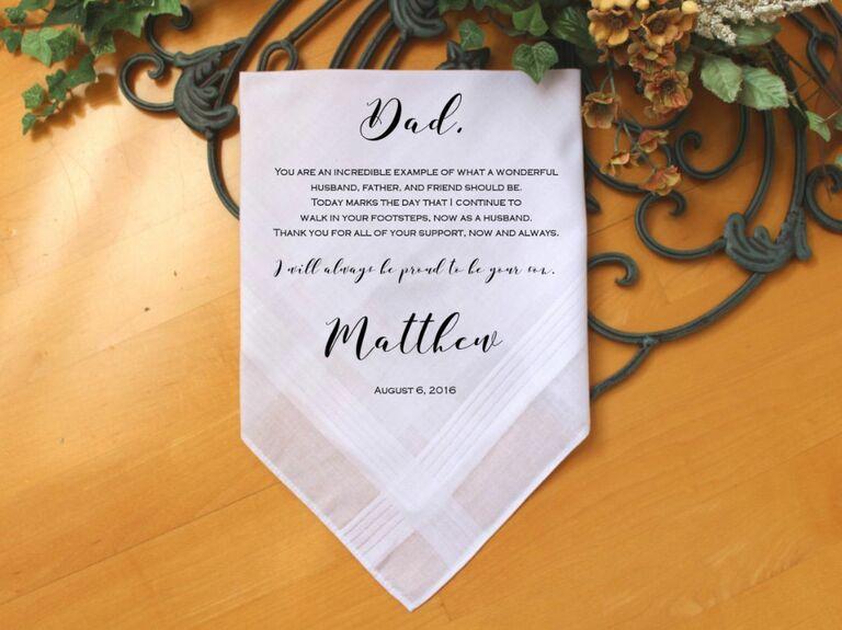 Custom father of the groom handkerchief